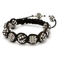 Shamballa Bracelet With Black Kashmiri Beads & Copper Beads | MSBR-160