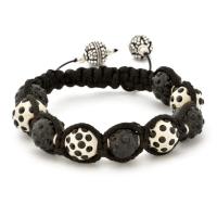 Black And White Shamballa Bracelet With Black Rhinestones | MSBR-161