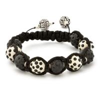 Black And White Shamballa Bracelet With Black Rhinestones | MSBR-161
