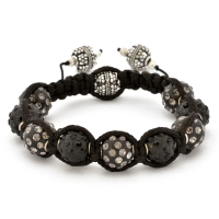 Shamballa Bracelet With Black Beads in Black & Gray Rhinestones | MSBR-158