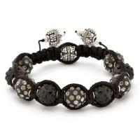 Shamballa Bracelet With Black Beads in Black & Gray Rhinestones | MSBR-158