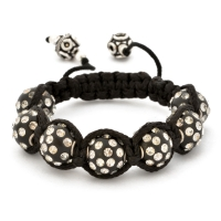Black Shamballa Bracelet With White Rhinestone Beads | MSBR-155