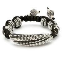 Black Shamballa Bracelet Having Beads Studded With Chains | MSBR-167