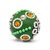 Green Beads Studded with Metal Chain, Rings & Rhinestones