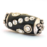 Black Beads Studded with Metal Rings & Rhinestones