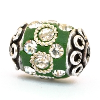 Green Beads Studded with Metal Rings & White Rhinestones