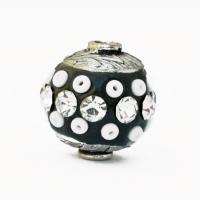Black Beads Studded with Seed Beads & Rhinestones