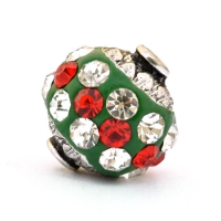 Green Beads Studded with Red & White Rhinestones