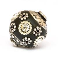 Black Beads Studded with Metal Rings + Flowers & Rhinestones
