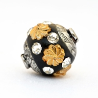 Black Beads Studded with Golden Flowers & Rhinestones