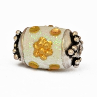 Shining White Beads Studded with Golden Accessories