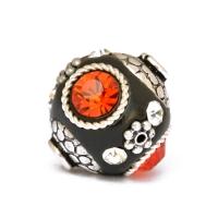Black Round Beads Studded with Metal Rings + Flowers, Rhinestones