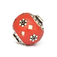 Red Beads Studded with Metal Flowers & Mirror Chips