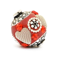 Red Beads Studded with Metal Rings + Flowers + Heart & Rhinestones