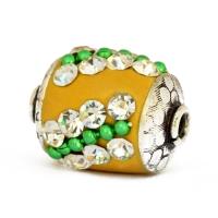 Yellow Beads Studded with Metal Chain & Rhinestones