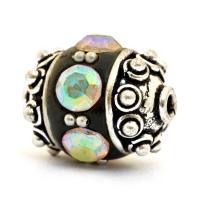 Black Beads Studded with Metal Balls & Rainbow Rhinestones