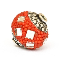 Red Beads Studded with Red Grains & Mirror Chips
