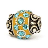 Yellow Beads Studded with Metal Rings & Aqua-Blue Rhinestones
