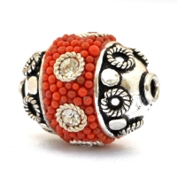 Red Beads Studded with Metal Rings, Grains & Rhinestones