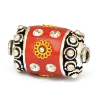 Red Beads Studded with Metal Flowers + Balls & Rhinestones