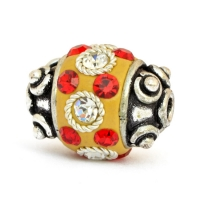 Yellow Beads Studded with Metal Rings, Red & White Rhinestones