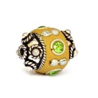 Yellow Beads Studded with Metal Rings + Balls & Rhinestones