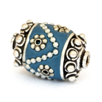 Blue Beads Studded with Metal Flowers & Metal Chains