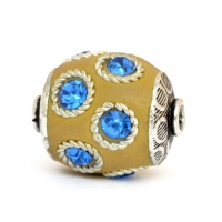 Yellow Beads Studded with Metal Rings + Blue Rhinestones