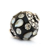 Black Beads Studded with Pear Shaped Cabochons & Rhinestones