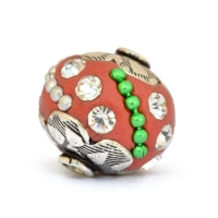 Red Beads Studded with Colorful Metal Chains & Rhinestones