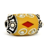 Yellow Beads Studded with Metal Rings + Balls + Red Glass Chips