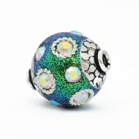 Teal Glitter Beads Studded with Metal Rings & Rainbow Rhinestones