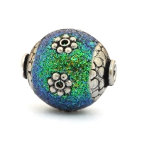 Teal Glitter Beads Studded with Metal Flowers