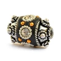 Black Beads Studded with Metal Rings + Golden Balls & Rhinestones
