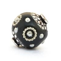 Black Beads Studded with Metal Rings & Metal Balls