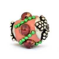 Pink Beads Studded with Green Metal Chains & Accessories