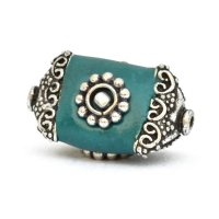 Blue Beads Studded with Metal Flowers + Balls