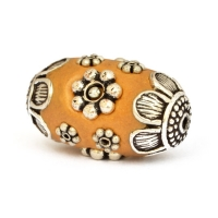 Yellow Beads Studded with Metal Flowers + Balls
