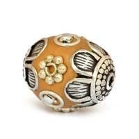 Yellow Beads Studded with Metal Flowers, Metal Balls & Metal Rings