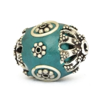 Blue Beads Studded with Metal Flowers & Metal Rings