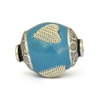 Blue Beads Studded with Metal Hearts