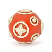 Red Round Beads Studded with Metal Rings, Balls & Accessories