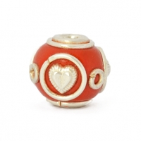 Red Round Beads Studded with Silver Plated Rings & Hearts