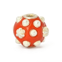 Red Round Beads Studded with Silver Plated Accessories