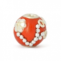 Red Round Beads Studded with Metal Chains, Rings & Accessories