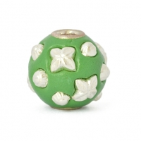 Green Round Beads Studded with Silver Plated Accessories