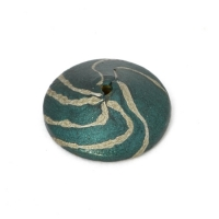 Teal Color Unusual Shaped Lac Beads with Silver Stripes