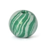 Green Round Lac Beads with Light-Green Stripes
