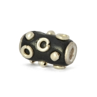 Black Cylindrical Beads Studded with Metal Rings & Accessories