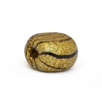 Unusal Handmade Golden Beads with Black Stripes